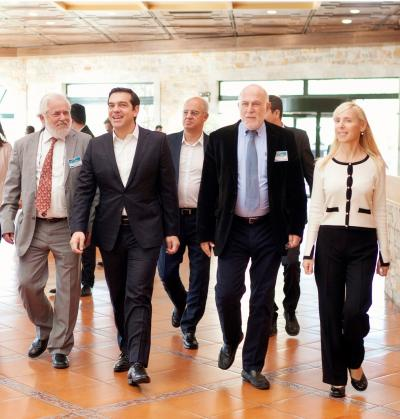 From left: G. Dassis, President (EESC), Alexis Tsipras, Prime Minister of Greece,, G. Vernicos, President (ESC of Greece), Dr. Martha Theodorou, Head of international and public relations (ESC)