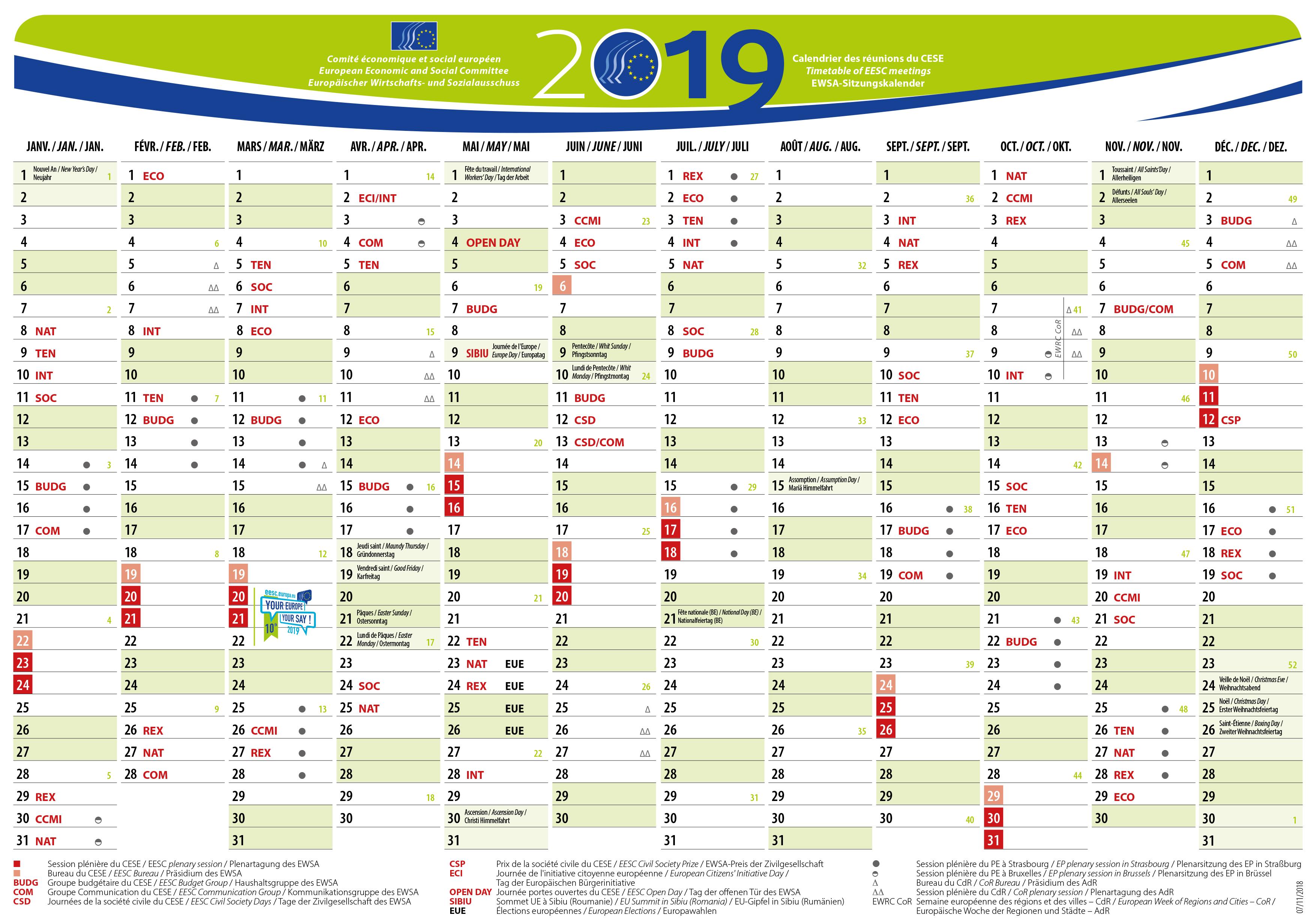 EESC meetings calendar 2019 | European Economic and Social