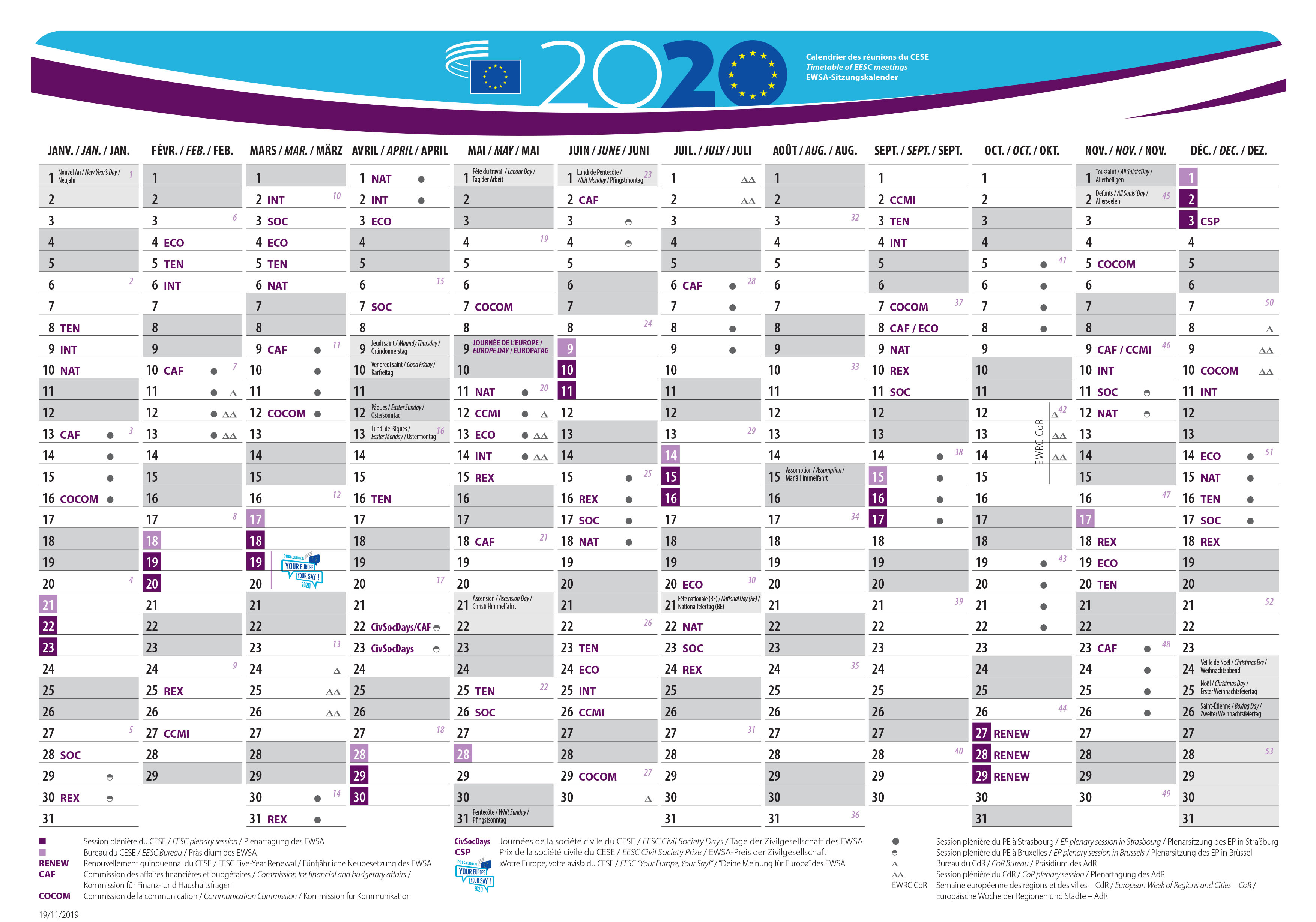 Eesc Meetings Calendar 2020 European Economic And Social Committee