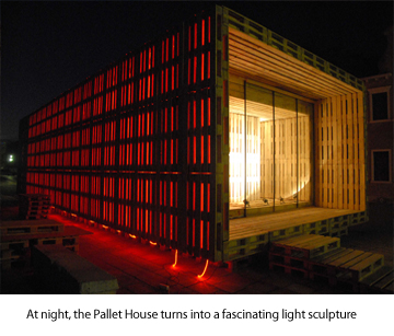 Pallet house at night