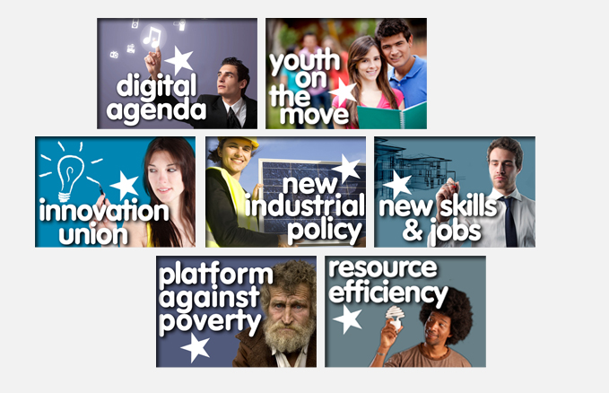 digital agenda, youth on the move, innovation union, newFlagship initiative: industrial policy, new skills & jobs, platform against poverty resource efficiency