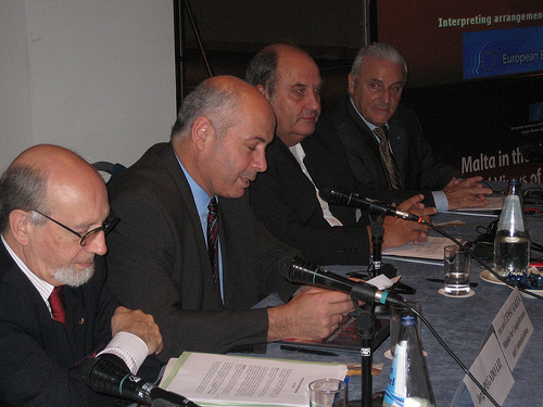 From left to right: J. Pegado Liz, The Hon. Censu Galea, Minister for Competitiveness and Communications, A. Graf von Schwerin, E. Calleja