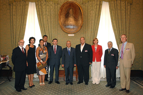 From left to right: Mr J. Pegado Liz, Mrs S. Gauci, Mrs A. Darmanin, Mr J.-P. Faure, Mr B. Hernandez-Bataller, HE Dr. E. Fenech Adami, Mr A. Graf von Schwerin, Mrs L. Carr, Mr E. Calleja, Mr B. Cassidy