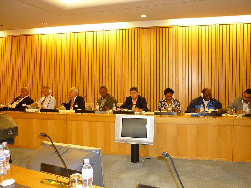ACP EU Follow up Committee 6 July 2010, from left to right: Mr Csuport, Mr Somville, Mr Dantin, Mr Benstrong, Mr Fornea, Ms Mukaruzima , Mr Makeka and Mr Anthony