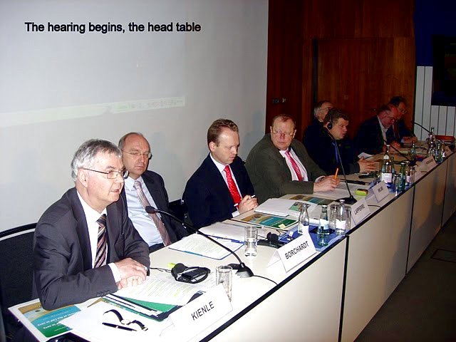 The hearing begins - the head table