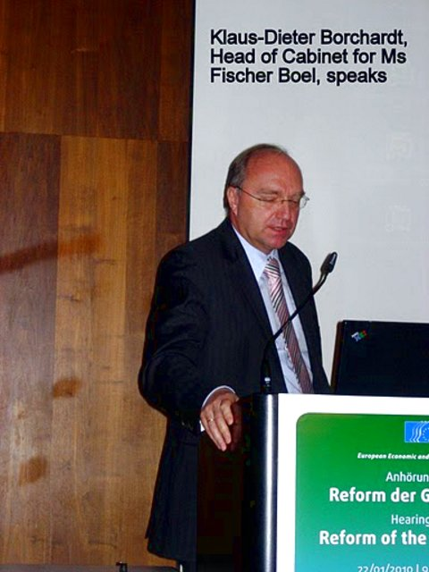 Klaus-Dieter Borchardt, Head of Cabinet for Ms Fischer Boel, speaks