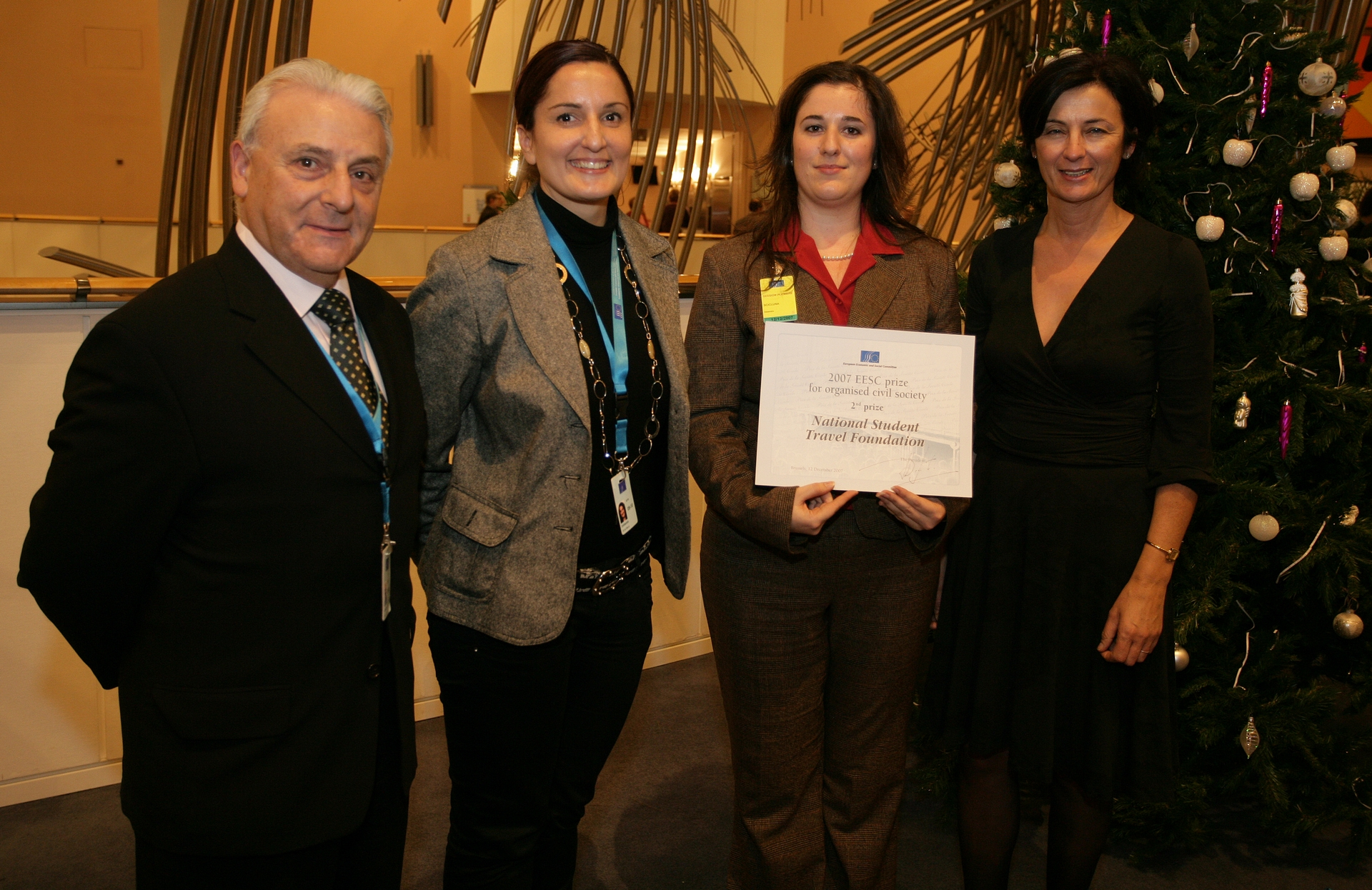 From left to right: Maltese EESC members Edwin Calleja, Anna Maria Darmanin and Sylvia Gauci with the representative of the Maltese National Student Travel Foundation, Alexandra Scicluna