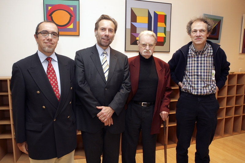 Etienne Boumans, 'Friends of the Renè Magritte Museum', Martin Westlake, Secretary general at the EESC, Guy Vandenbranden, Artist and André Garitte, Director of the René Magritte Museum