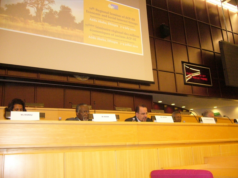 Jahier opening 11th ACP EU Seminar Addis Ababa 2010, from left to right: Ms Worku, Mr Muna, Mr Jahier, HE Mr Manyazewal and HE Mr Sinigallia