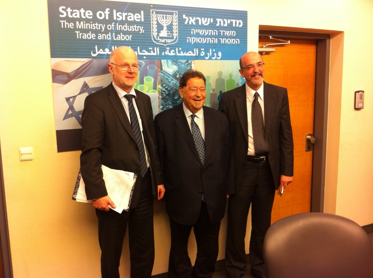 From left: Staffan Nilsson, Benjamin Ben-Eliezer, Yehuda TALMON