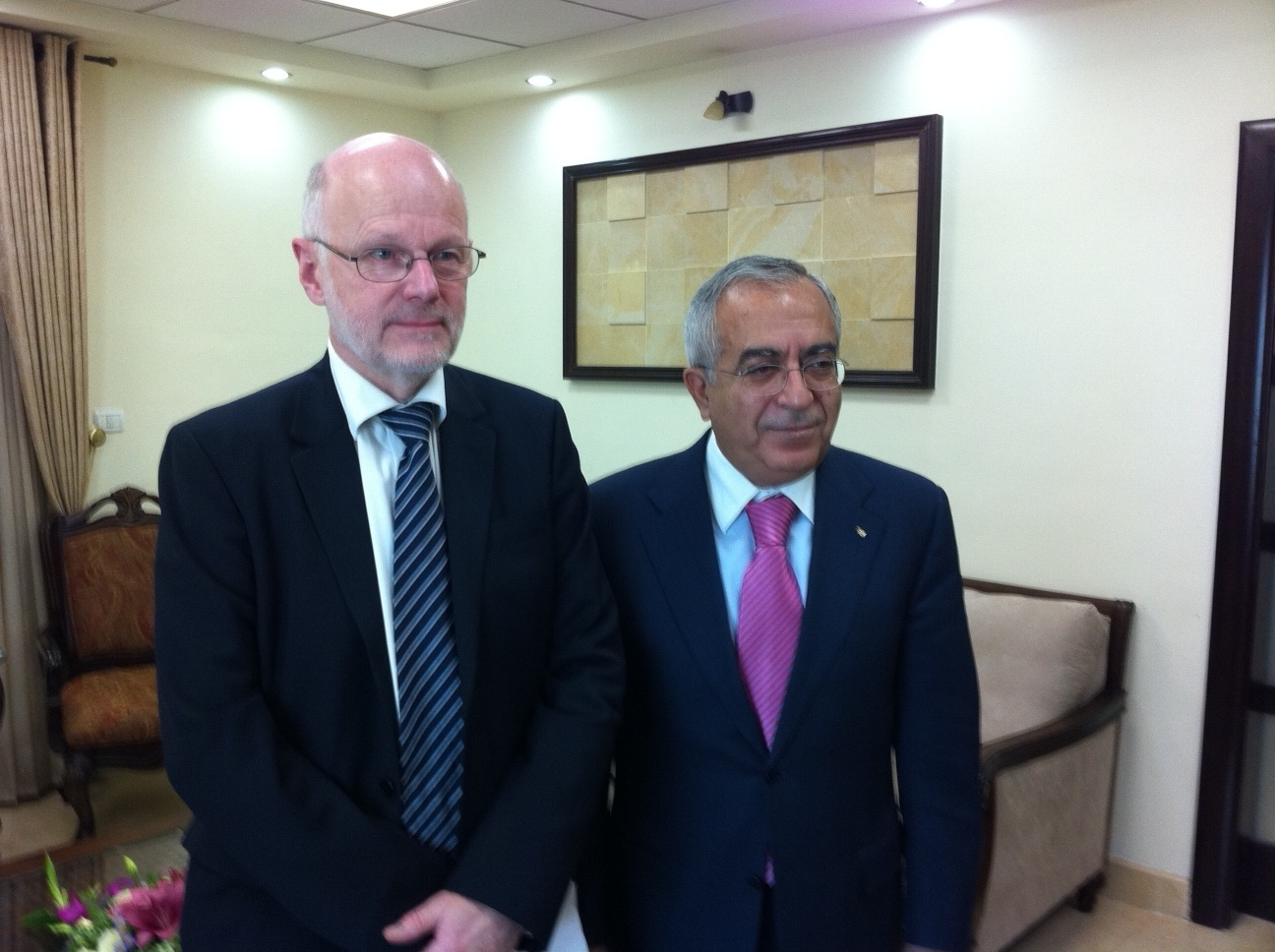EESC President Staffan Nilsson and the Palestinian Prime Minister Salam Fayyad