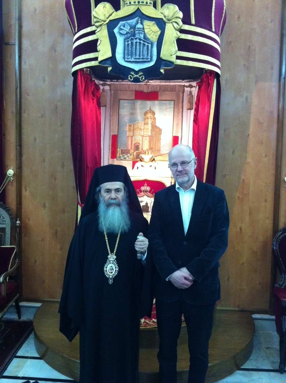 Staffan Nilsson and the Patriarch of Jerusalem Theophilus (Greek ortodox church)