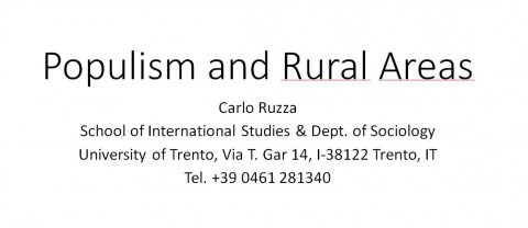 Carlo Ruzza - University of Trento - Populism and Rural Areas