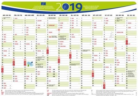 EESC meetings calendar  - 2019 - calendrier des réunions du CESE - jpeg - 146 KB