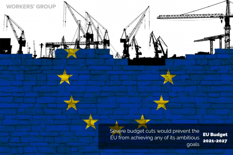 Bricks with EU flag under construction, text on the cuts of the MFF
