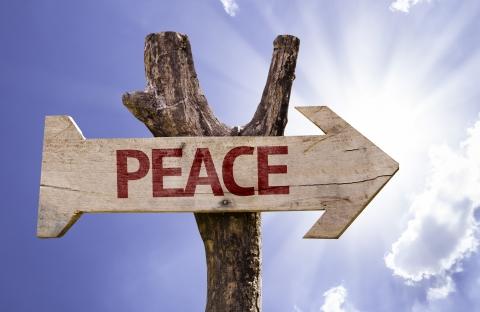 Peace signpost