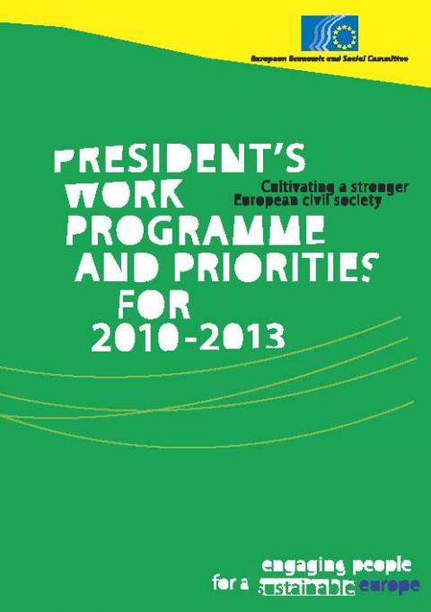 Cover President's work programme EN