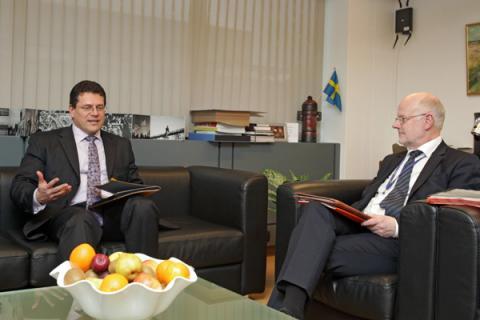 Commissioner Šefčovič and President Staffan Nilsson