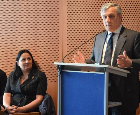 Madi Sharma, Member of the Employers' Group, Antonio Tajani, Vice-President of the European Commission, responsible for Industry and Entrepreneurship
