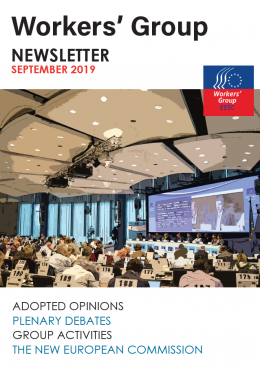 Newsletter Cover Page with opinions debates and picture of plenary