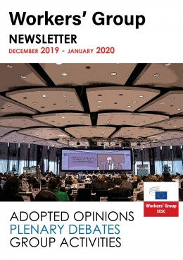 January Newsletter coverpage with image of plenary and index of adopted opinions, plenary debates and group activities.