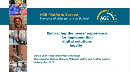 Age platform Europe - The voice of oler persons at EU level - Ilenia Gheno, Research Project Manager - Demographic change regions network: Active and healthy ageing - 6 December 2019