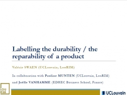 Labelling the durability - the reparability of a product