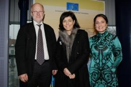Staffan Nilsoon and Anna Maria Darmanin with Ms Joëlle Milquet (center), Belgian Deputy Prime Minister and Minister for Employment and Equal Opportunities