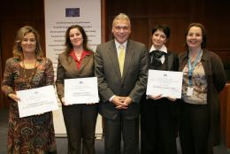 President Dimitriadis with the winners of the second civil society prize