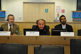Mario SOARES, Representative of the EESC Employees' Group, Member of the EESC Bureau, with Mario SEPI, President of the EESC and Sony KAPOOR, Managing Director, Re-Define