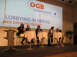 Anna Maria Darmanin at a panel discussion on lobbying at EU level with MEP Evelyn Regner
